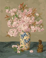 MaHuaf W454 Pink Flower Still Life Coloring By Numbers DIY Digital Hand Painted Canvas Painting For