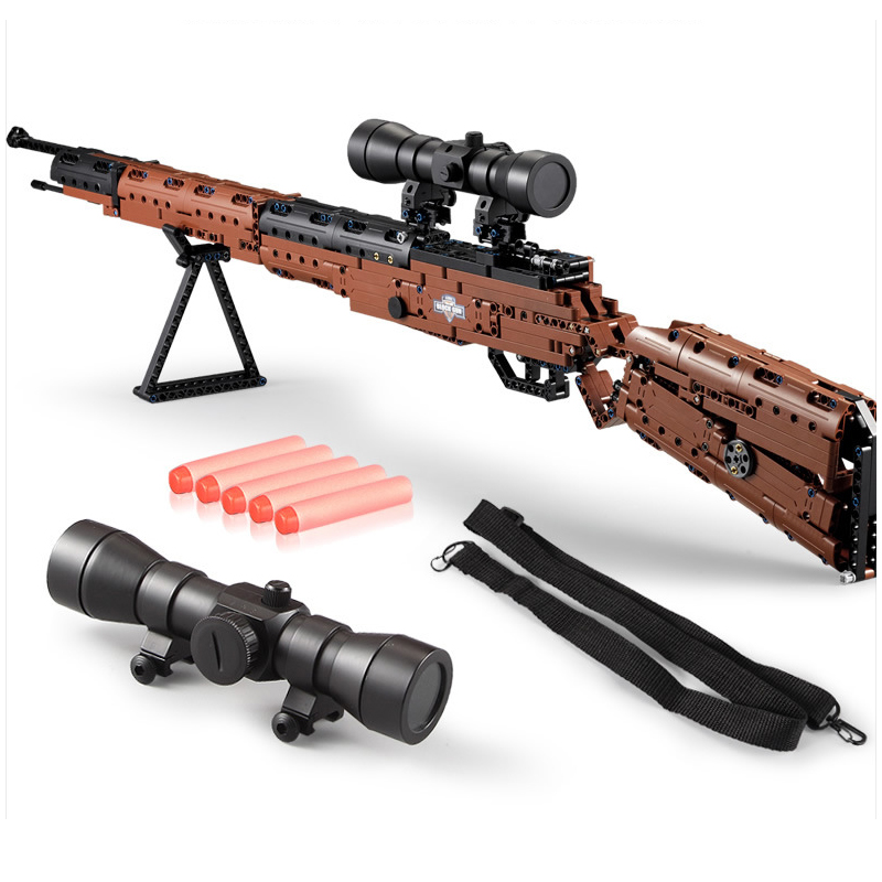 C61010 DIY Building Blocks Soft Bullet Gun Toy Kids Electrical Of 98K Rifle Gun Construction Outdoor Toys For Children Boy-in Blocks from Toys & Hobbies    1