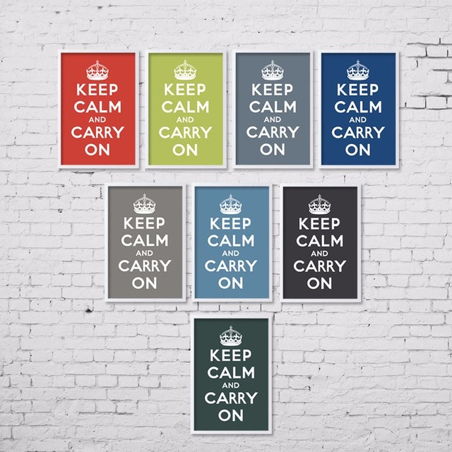 canvas art print poster keep calm and carry on inspired quotes saying wall decor office