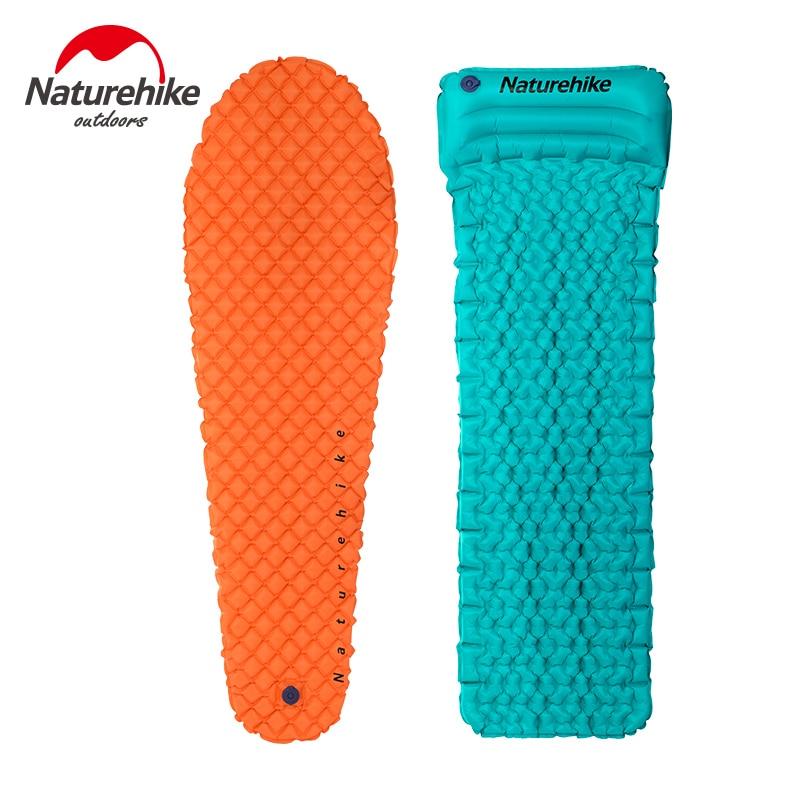 Naturehike Outdoor Camping Single Inflatable Pads Moisture-Proof Mat Pillow Mummy Lightweight Air Mattress Sleeping <font><b>Bed</b></font> 470g