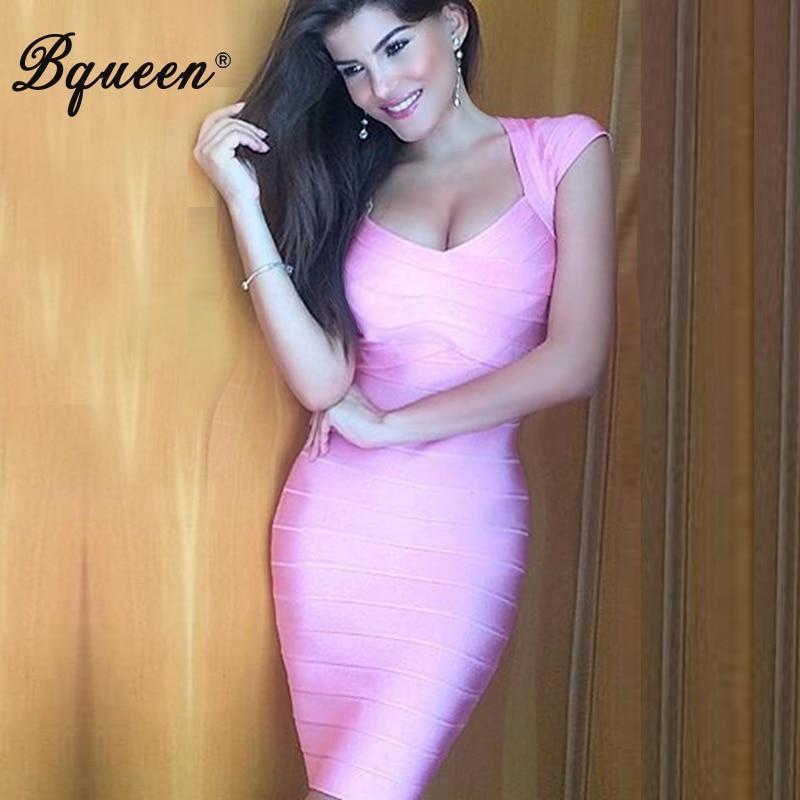 Bqueen 2017 женская элегантная V накидка на шею рукав Бандажное платье длиной до колена облегающее вечернее платье летняя мода