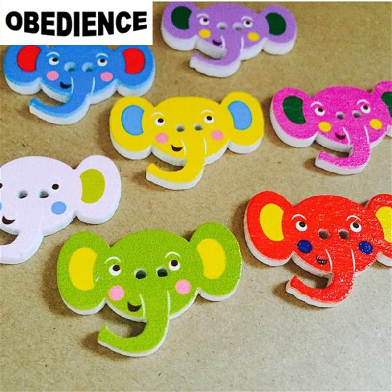 DIY Cartoon Pencil house Sewing buttons Wooden Scrapbooking decoration 27mm