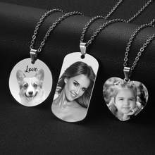 3 Patterns Customized Photo Name Necklace Stainless Steel Engrave ID Dog Tag Pendant Chain For Woman Jewelry Personalised Gift(China)