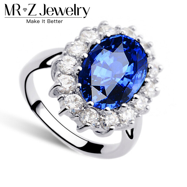 top quality 2017 new arrival princess kate royal blue engagement wedding ring for women zircon jewelry - Princess Kate Wedding Ring