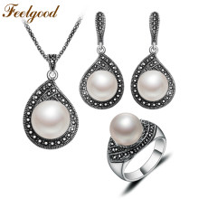 Feelgood Jewellery Vintage Silver Color Water Drop Necklace Sets Black Crystal And Imitation Pearl Jewelry Set For Women Gift(China)
