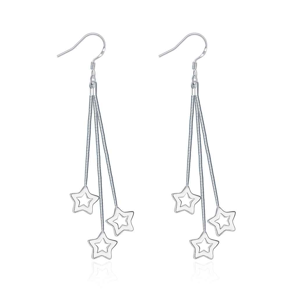 Wholesale High Quality Jewelry font b Silver b font Plated Triple Hollow Star font b Earrings