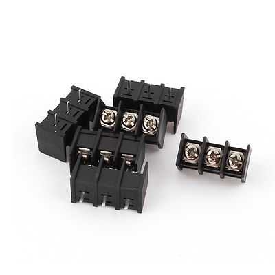 6Pcs 300V 20A 3 Pins Single Row 3 Screw Terminal Barrier Block Black sitemap 34 xml