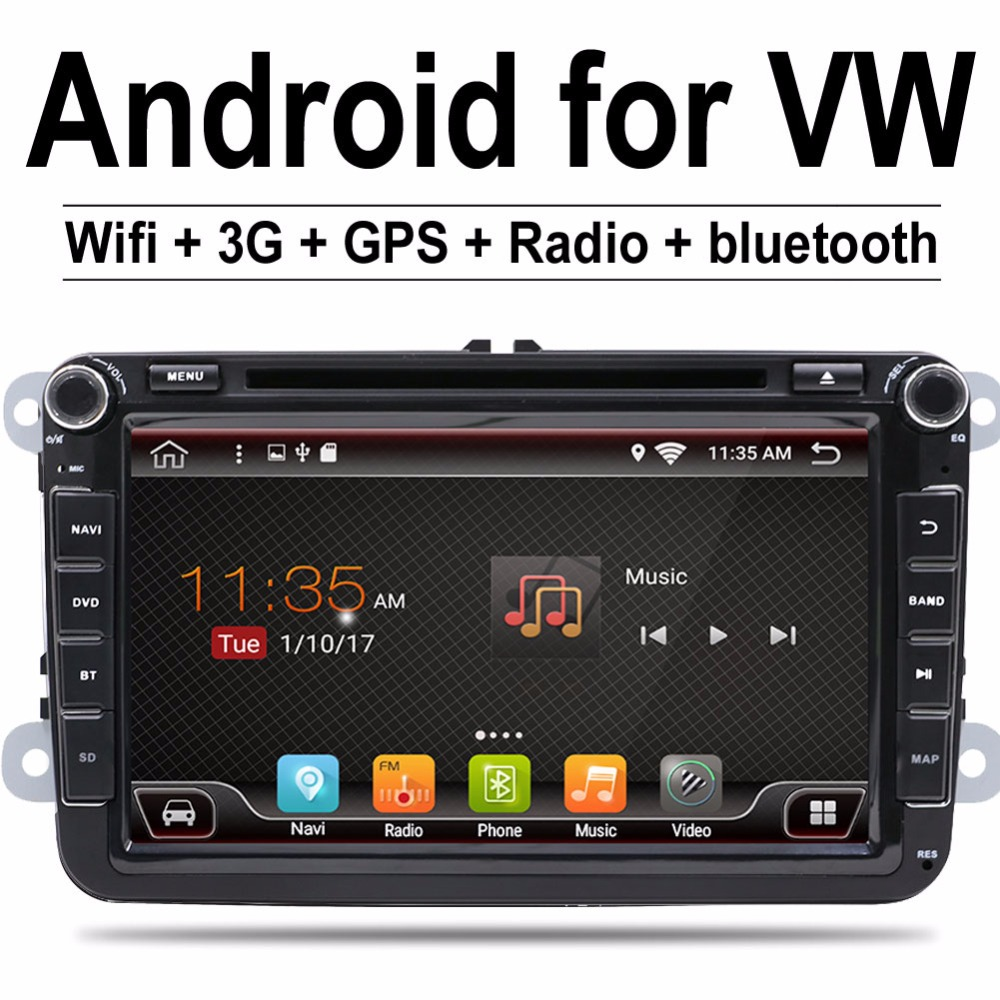 2 Din 8 pouce Quad core Android 7.1 pour vw voiture dvd pour Polo Jetta Tiguan passat b6 cc miroir lien wifi Radio CD au tableau de bord
