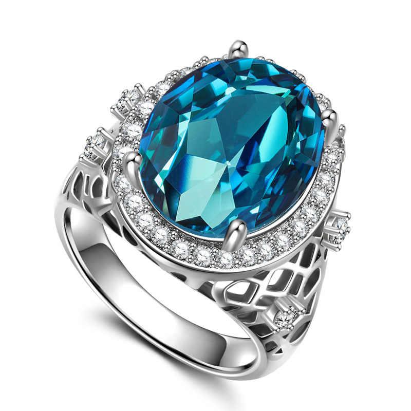 เงิน 925 แหวนเพชรมรกตแหวน zircon ผู้ชายอุปกรณ์เสริม Rose gold คริสตัล topaz amethyst วาเลนไทน์ dayB684