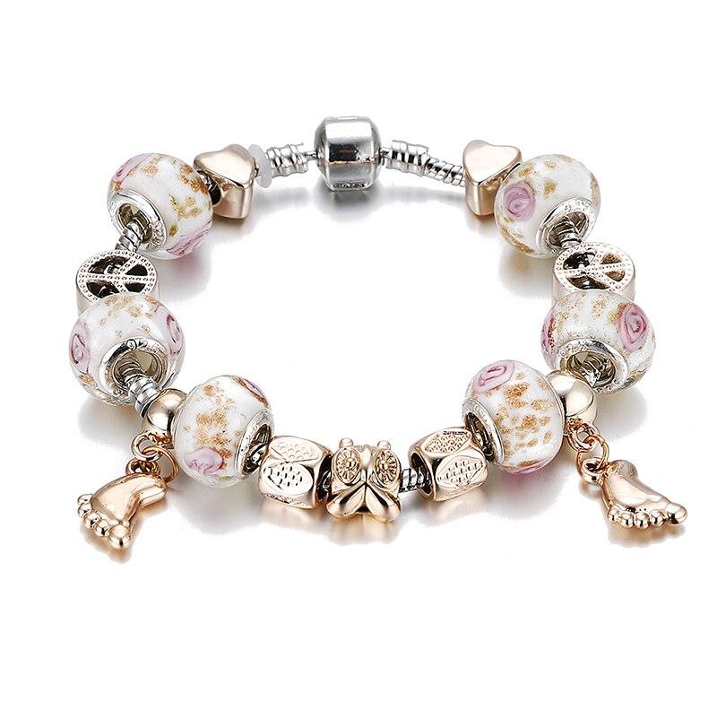 2017 new love beads little feet female Pulsera DIY crystal bracelets and silver bracelet chain bracelet jewelry - 011 - B