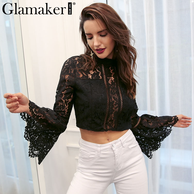 Glamaker Vintage   blouse     shirt   Female top hollow out lace winter   blouse   Women   shirts   flare sleeve pathwork slik tops and   blouse