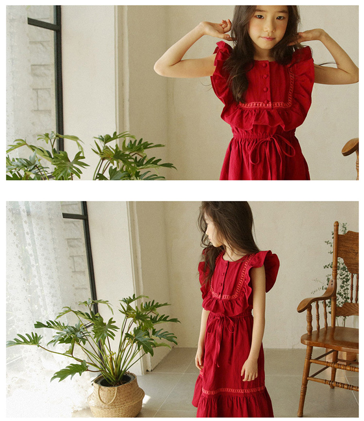 fadcdf3eeec1 Abiti economici 4 14 anni ragazze adolescenti rosso vestito lungo.Offriamo  il miglior prezzo all ingrosso