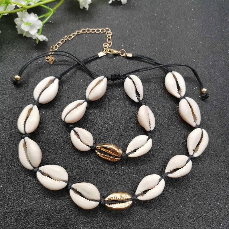 Nowy naturalne biżuteria powlekana zestaw złoty kolor srebrny Cowrie Choker naszyjnik dla kobiet czarny biały Rope Chain bransoletki plaża biżuteria