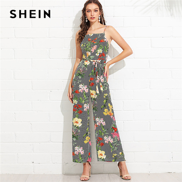 264ff20e73 SHEIN Multicolor Backless Vacation Bohemian Beach Floral Print Striped  Spaghetti Strap Cami Wide Leg Summer Jumpsuit For Women