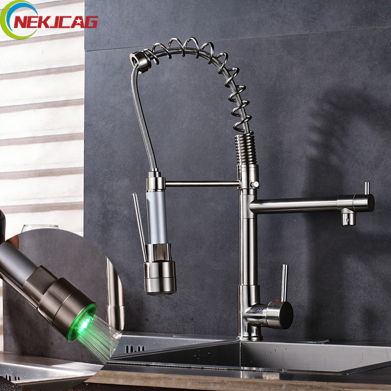 цены Brushed Led Rotation Spring Faucet Deck Mounted Pull Down Kitchen Sink Faucet Mixer Tap with Sprayer