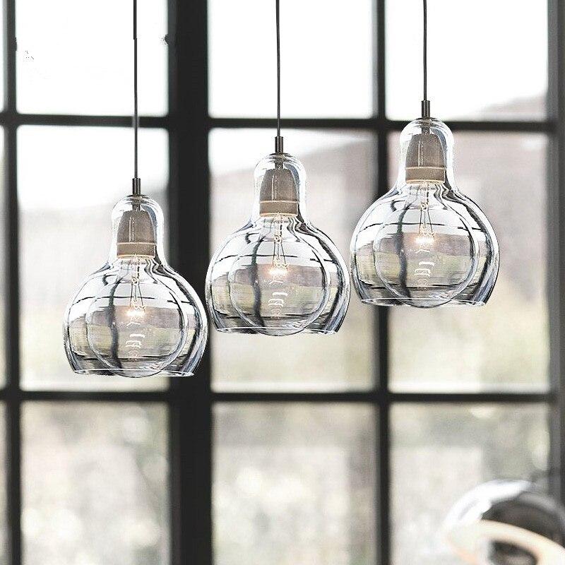 Clear Glass Pendant Lights Modern Loft Pendant Lamps LED light Fixtures For Living Room Kitchen Fixtures Lustre Table Hanglamps