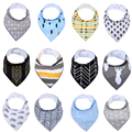 100% Cotton Cute Baby Bandana Drool Bibs 4Pack Set with Snaps Soft and Absorbent Infant and Toddler Accessories Unisex Baby Bibs