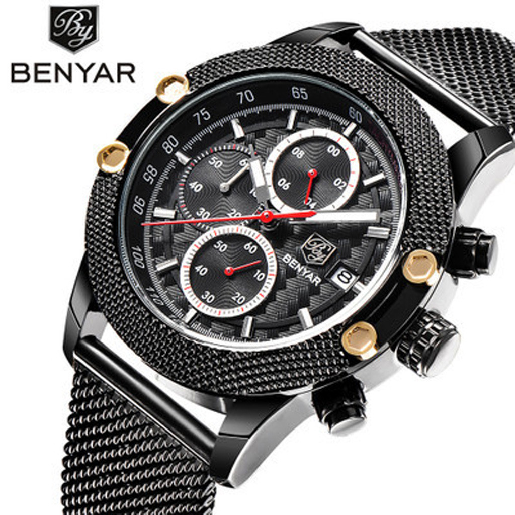 man watch 2019 BENYAR Sport Chronograph skone Watches Men Mesh Band Waterproof Luxury Quartz Watch  relogio masculino
