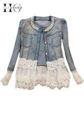 Jeans Jacket Women Casacos Feminino Slim Lace Patchwork Beading Denim Lady Elegant Vintage Jackets Coat Free Shipping WWJ084