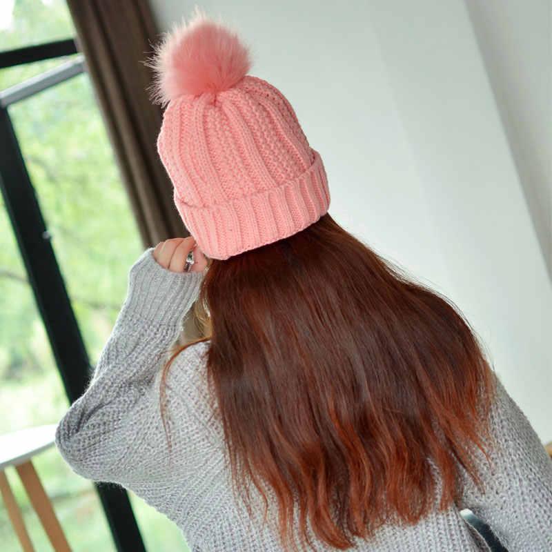 80625f66 ... pom pom hat women beanie hat Womens Beanies black pink winter hat solid  faux fur hat