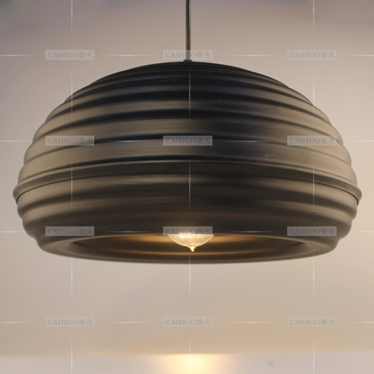 American Country Metal Wave Honeycomb Dining Room Pendant Lamp Restaurant Bar Counter Vintage industrial Pendant Lights