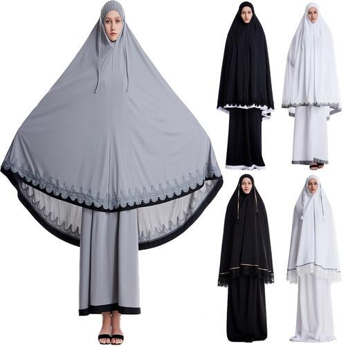 Image 2 - Ramadan Women 2 Piece Muslim Prayer Set Khimar Abaya Overhead 