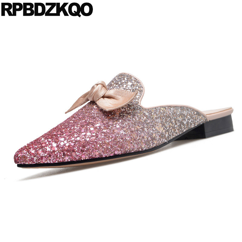 Slides Designer Sandals Women Luxury 2018 Mules Paillette Flat Wedding Sequin Bling Glitter Bow Shoes Closed Toe Rose Gold rose decorated toe post flat sandals