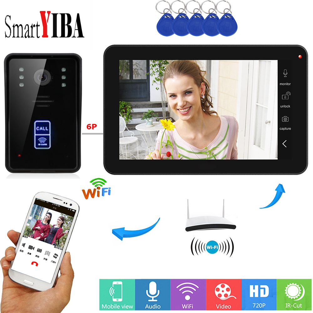SmartYIBA 9 Inch Wireless Wifi APP Remote Control Video Intercom Touch Panpel Video Call For Home RFID Reader Unlock Doorbell