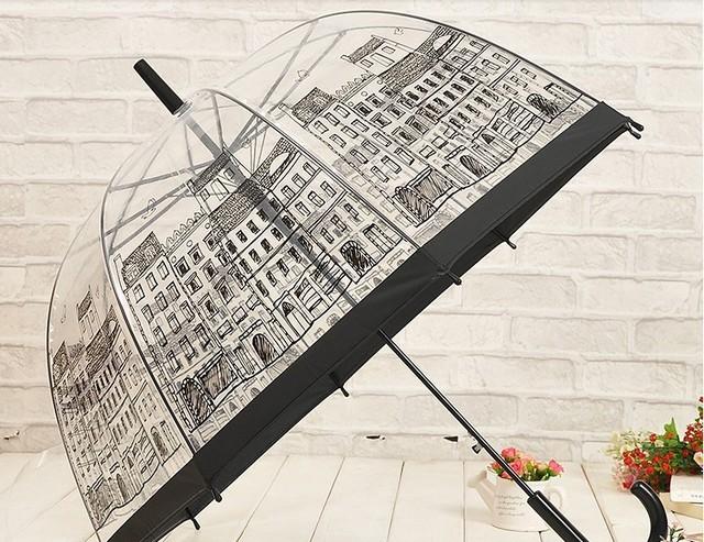 Transparente decoración de encaje princesa paraguas paraguas structurein recta