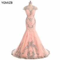Long Evening Dresses 2018 Mermaid O Neck Sheer Back Luxury Beaded Crystal Evening Gown Pink Arabic Formal Prom Evening Gowns
