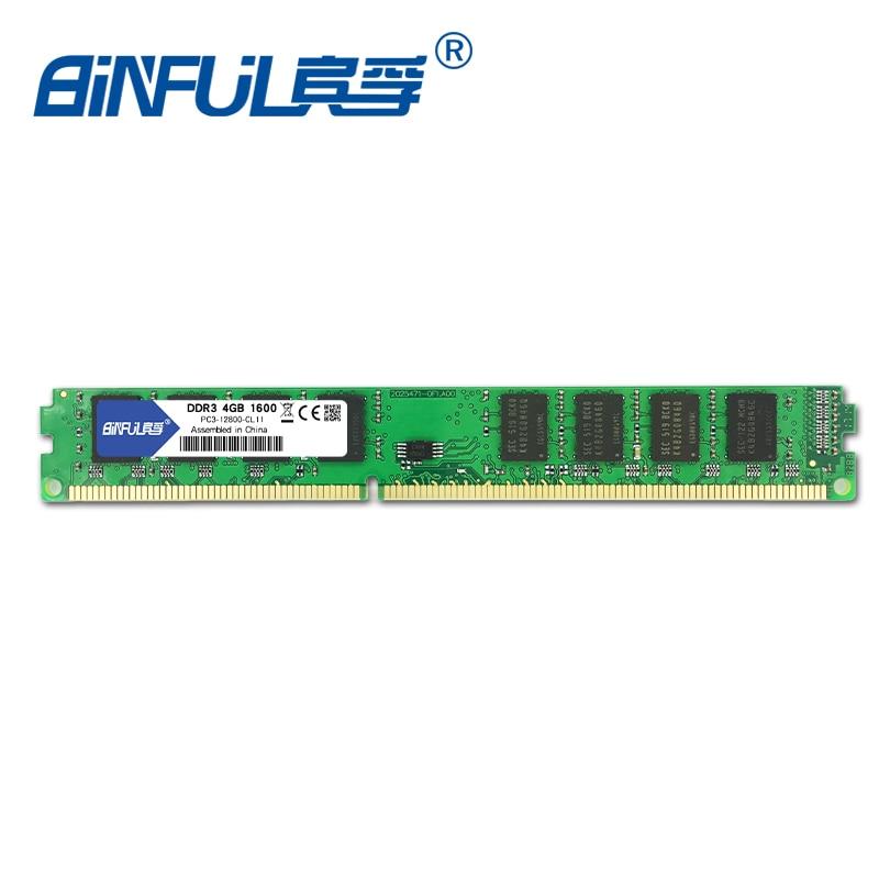 Binful d'origine Nouvelle Marque DDR3 PC3-12800 4 GB 1600 mhz pour ordinateur de Bureau Mémoire RAM 1.5 V Compatible avec toutes les cartes mères