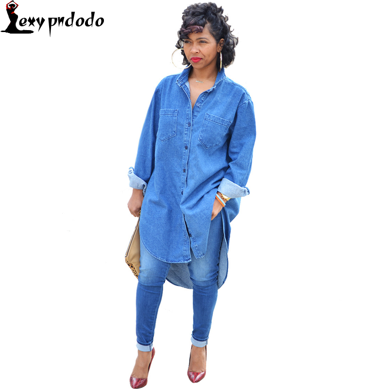 Denim Shirt Dress Plus Size Woman Punk Dress New Women Casual Autumn Club Mini Dress Long Sleeve Party Dresses Dames Jurken Jurk