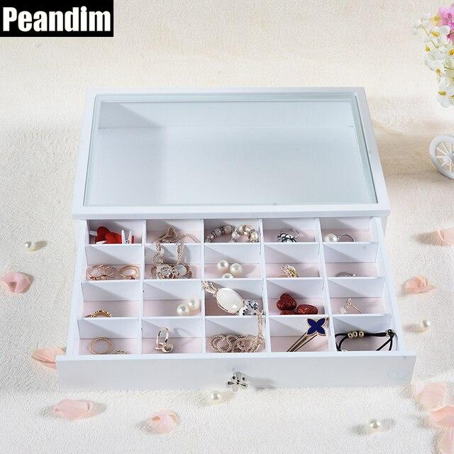 PEANDIM White Color Wood Jewelry Display Box Bracelet Necklace
