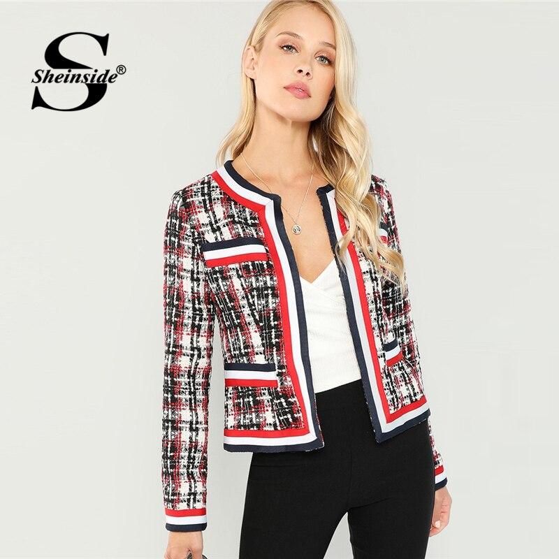 Sheinside Autumn Jacket Contrast Tape Open Placket Tweed Coa