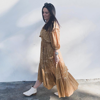Jastie Lioness Ruched Midi Dress V Neck 3/4 Sleeve Spring Summer Dresses Elastic Waist Casual Women Clothing 2019 Boho Dresses