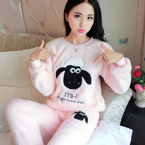 Image 4 - New Spring Winter Anti Cold Keep Warm Women Coral Fleece Pajamas Set of Sleepcoat & Lady Thermal Flannel Home Clothing Bottoms