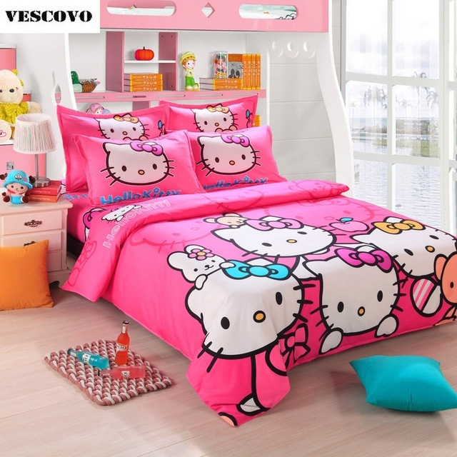 Attractive Hello Kitty Bedding Set Bedspreads Girlu0027s Childrens Quilt/Duvet Cover Pink  Twin Full Queen Size