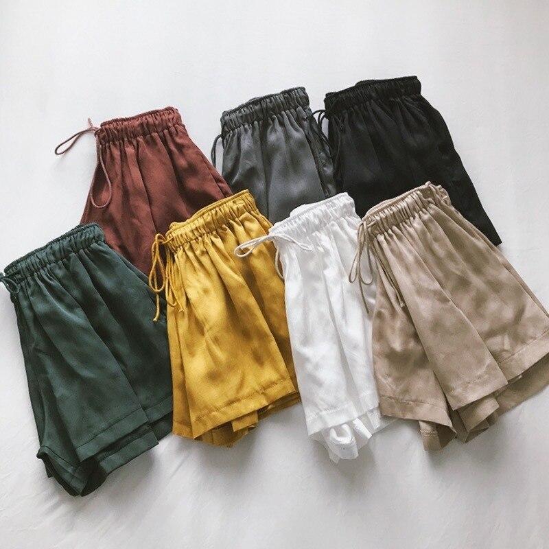 Summer Casual  Cupro Women Shorts High Waist Drawstring 7 Color Female Hotpants