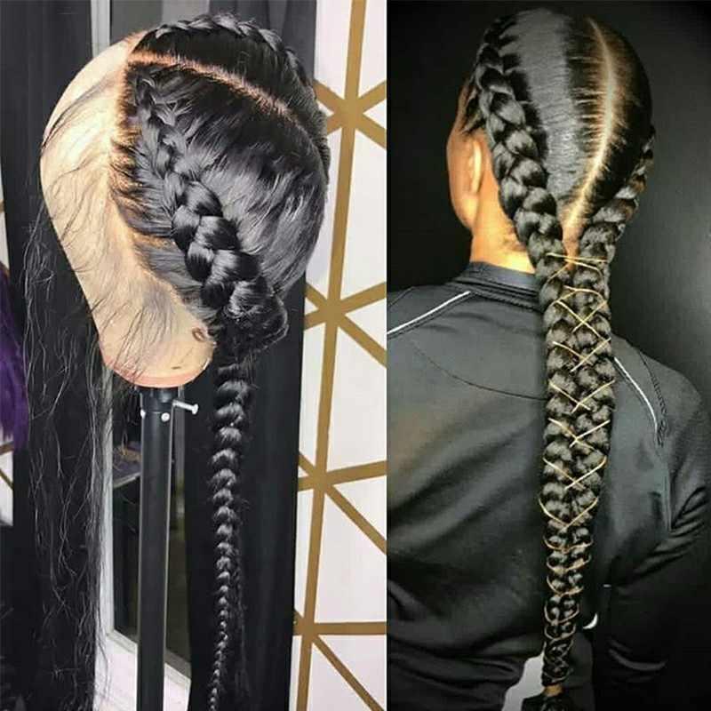 Предварительно сорванные полные парики человеческих волос шнурка с волосами младенца прямые бразильские прозрачные кружева плетеная косичка бесклеевая полный парик шнурка Remy