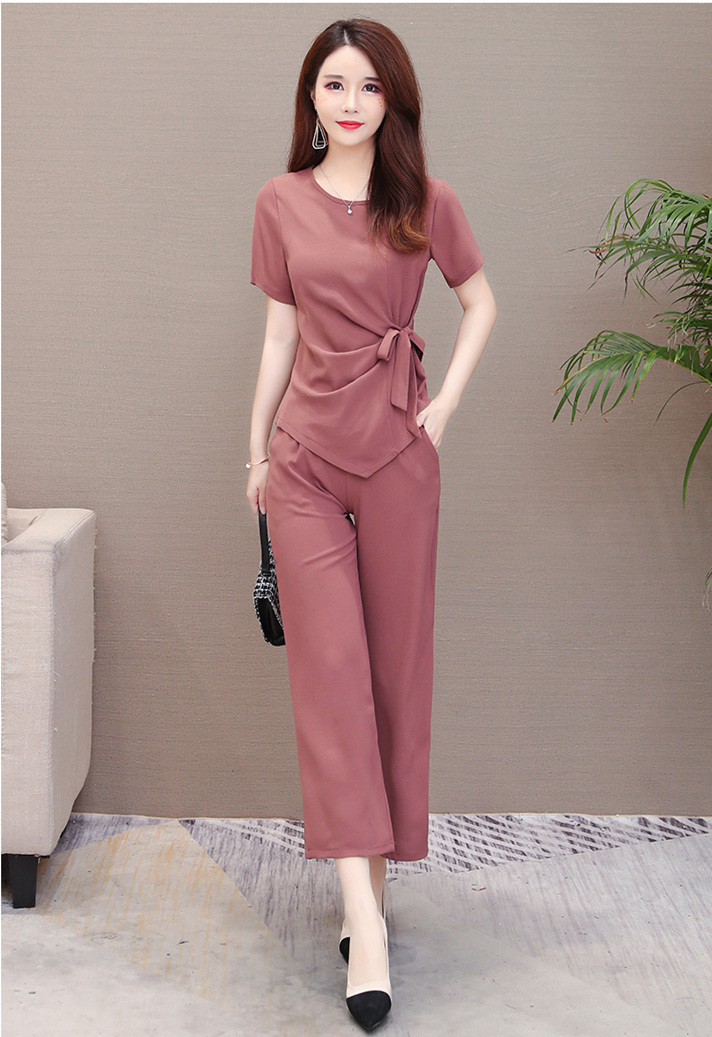 Summer Two Piece Sets Outfits Women Plus Size Lace-up Bow Tunics Tops And Pants Suits Korean Elegant Office 2 Piece Sets Blue 42
