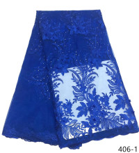 Lace Fabric Royal Blue French With Beaded Nigerian High Quality African Tulle 406