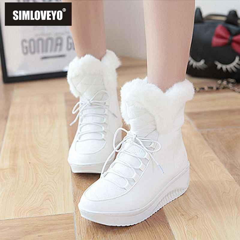 SIMLOVEYO 2020 Ayakkabı kadın yeni Rusya kış kar botları kalın kürk iç platformu takozlar topuk bayan yarım çizmeler kadın ayakkabı A812