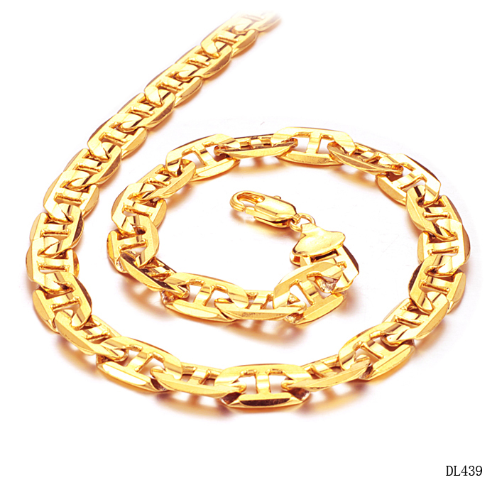 18 karat gold jewelry gold necklace shaped 51cm KL439 G men overlord