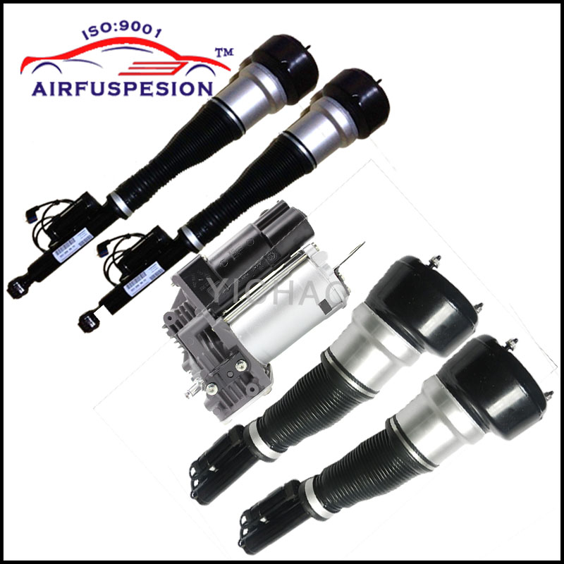 Free Shipping 4pcs Mercedes W221 Front Rear Suspension Shock Absorber Air Spring Air Ride 2213209313 2213205613 2213205513 new free shipping mercedes vito viano w639 rear air suspension air spring airbag repair kit 6393280101 6393280201