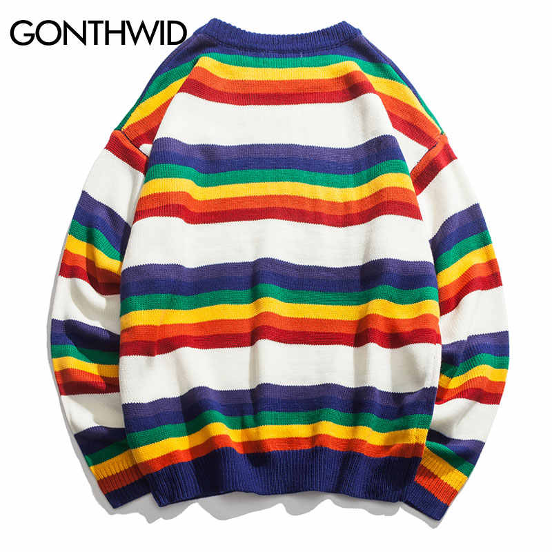 GONTHWID Harajuku suéteres de punto a rayas de arco iris hombres Hip Hop ropa informal con diseño de varias telas 2019 suéter de cuello redondo de moda masculina