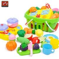 Crianças de Corte de Vegetais e Frutas Cesta De Plástico Conjunto de Brinquedos Educação Brinquedos para As Crianças Pretend Play Kitchen Cooking Food D51
