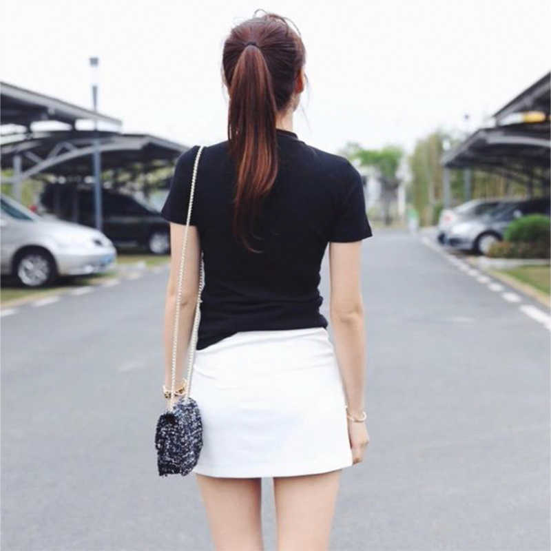 짧은 소매 모의 목 캐주얼 티 여성 슬림 맞는 t-셔츠 탑스 여름 여성 섹시 탑 티 화이트/블랙 티셔츠