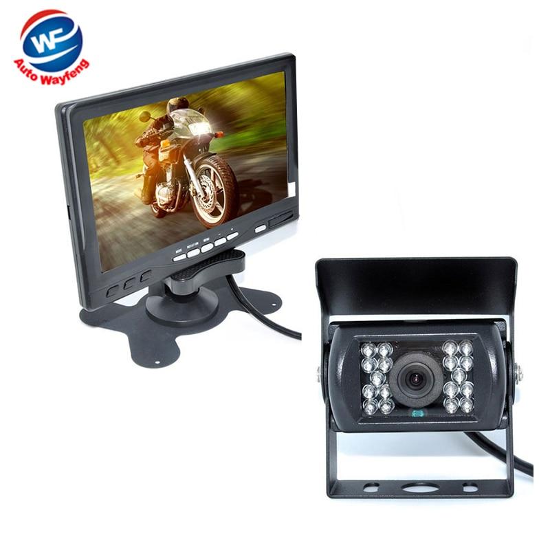 Factory Selling 18 IR Reverse Camera NEW 7 LCD Monitor Car Rear View Kit car camera BUS And Truck parking sensor 15M Or 20M