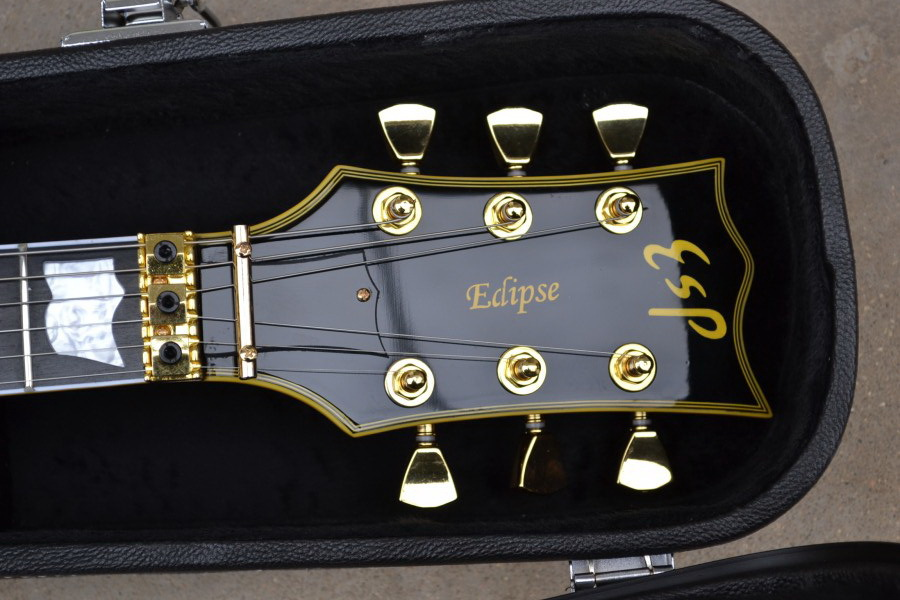Free shipping Custom shop Ebony fingerboard + EMG pickups ESP ECLIPSE black electric guitar with Hard Case -2013-18