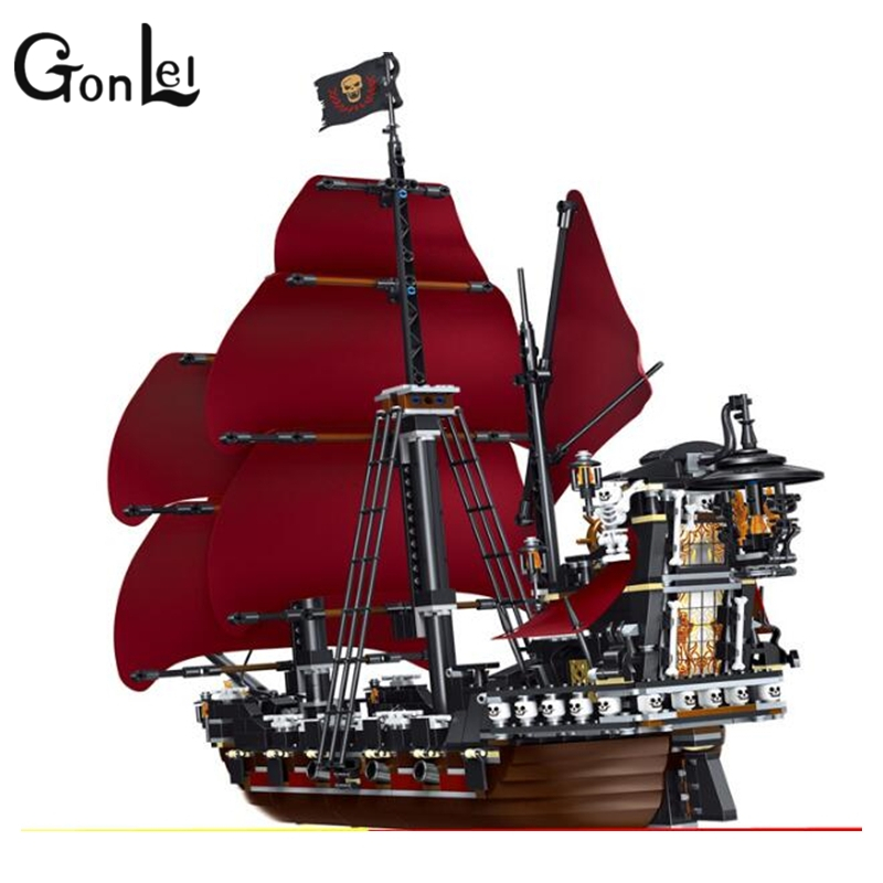 GonLeI 39008 1222pcs Queen Anne\'s Revenge Pirates Of Caribbean Lele Building Block Compatible legoings 4195 Brick Toy 2017 new toy 16009 1151pcs pirates of the caribbean queen anne s reveage model building kit blocks brick toys